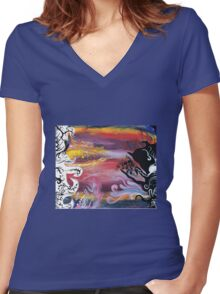 Dark vs Light Women's Fitted V-Neck T-Shirt