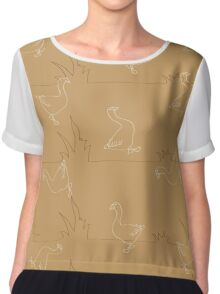 Seamless pattern for background composed of stylized grass and lots of geese Chiffon Top