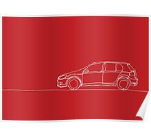 VW Golf - Single Line Poster