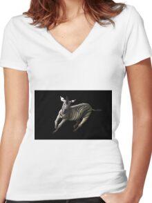 Zebra Cutout Women's Fitted V-Neck T-Shirt