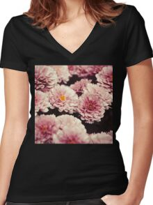 Pink vintage flowers Women's Fitted V-Neck T-Shirt