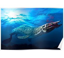 Mosasaur With Prey Poster