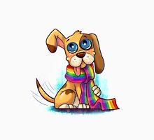 Süßer Hund mit Regenbogen Schal Unisex T-Shirt