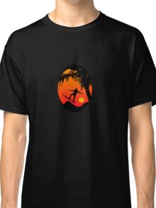 Man Surfing at Sunset Graphic Illustration Classic T-Shirt