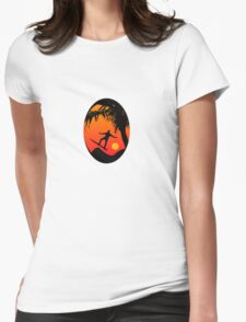 Man Surfing at Sunset Graphic Illustration Womens Fitted T-Shirt