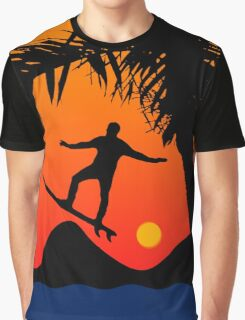 Man Surfing at Sunset Graphic Illustration Graphic T-Shirt
