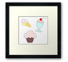 Sweet pattern with cupcakes, ice cream and milkshake Framed Print
