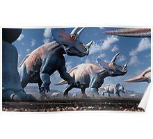 Triceratops Herd Poster
