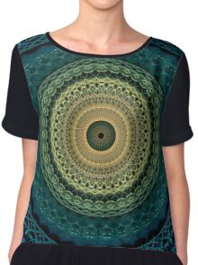 Mandala in yellow, green and blue tones Chiffon Top