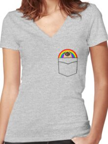 Pride Pug Women's Fitted V-Neck T-Shirt