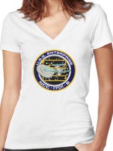 STAR TREK - U.S.S. ENTERPRISE Women's Fitted V-Neck T-Shirt