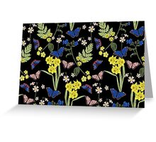 Floral botanical print with butterflies and wild flowers Greeting Card