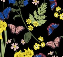 Floral botanical print with butterflies and wild flowers Sticker