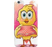 Das süße Küken hält ein Kissen in der Hand iPhone Case/Skin