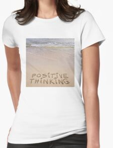 Positive Thinking message written on sand, with waves in background T-Shirt