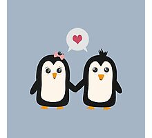 Penguins in love Photographic Print