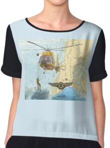 USCG Rescue Swimmer Nautical Map WA Cathy Peek Chiffon Top