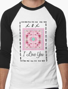 i love you button Men's Baseball ¾ T-Shirt