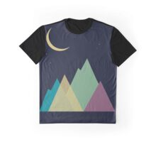 Multi-colored mountains and the moon. Active tourism Graphic T-Shirt