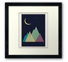 Multi-colored mountains and the moon. Active tourism Framed Print
