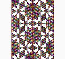 Triangular Prismatic Fractal Tessellation on White Unisex T-Shirt