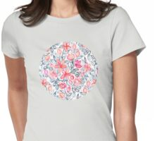 Coral and Grey Candy Striped Crayon Floral Womens Fitted T-Shirt