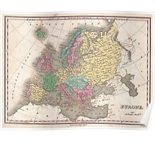 Vintage Map of Europe (1827) Poster