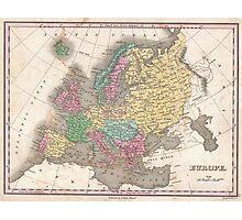 Vintage Map of Europe (1827) Photographic Print