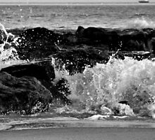 Black and White Sunset Waves over the Jetty                    0743 by KarenDinan