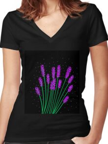 Lavender  Women's Fitted V-Neck T-Shirt