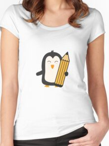 Penguin with pen   Women's Fitted Scoop T-Shirt