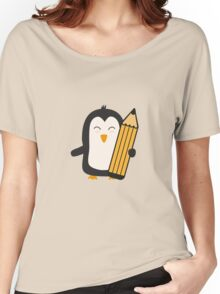 Penguin with pen   Women's Relaxed Fit T-Shirt
