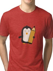 Penguin with pen   Tri-blend T-Shirt
