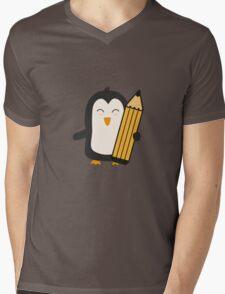 Penguin with pen   Mens V-Neck T-Shirt
