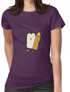 Penguin with pen   Womens Fitted T-Shirt