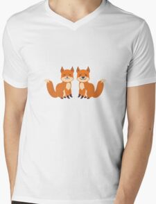 Cute Foxes Mens V-Neck T-Shirt