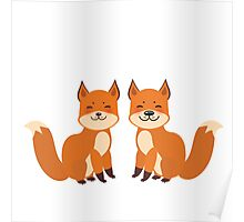 Cute Foxes Poster