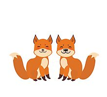 Cute Foxes Photographic Print