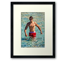 Sexy french guy at the beach in Saint Tropez, France Framed Print