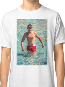 Sexy french guy at the beach in Saint Tropez, France Classic T-Shirt