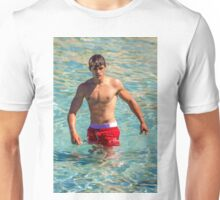 Sexy french guy at the beach in Saint Tropez, France Unisex T-Shirt