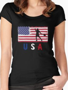 USA Tennis 2016 competition hard clay court funny t-shirt Women's Fitted Scoop T-Shirt