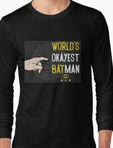 World's okayest batman funny cartoon cool retro funny shirts and clothing design Long Sleeve T-Shirt