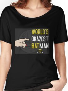 World's okayest batman funny cartoon cool retro funny shirts and clothing design Women's Relaxed Fit T-Shirt