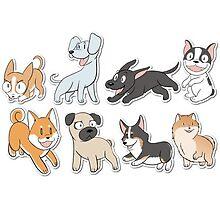 8 Happy Dog Stickers by paledogstudios