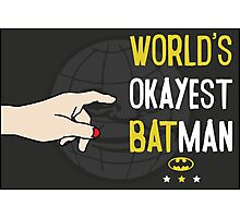 World's okayest batman funny cartoon cool retro funny shirts and clothing design Photographic Print