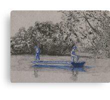 Blue boys fishing Canvas Print