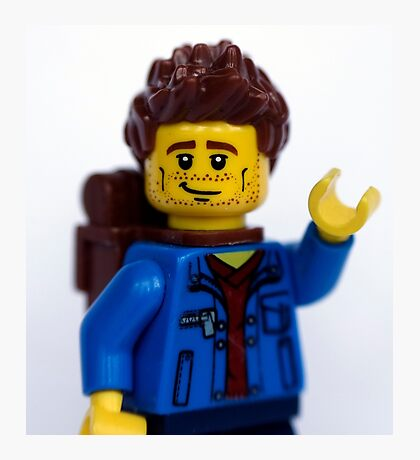 Waving Lego Backpacker Photographic Print