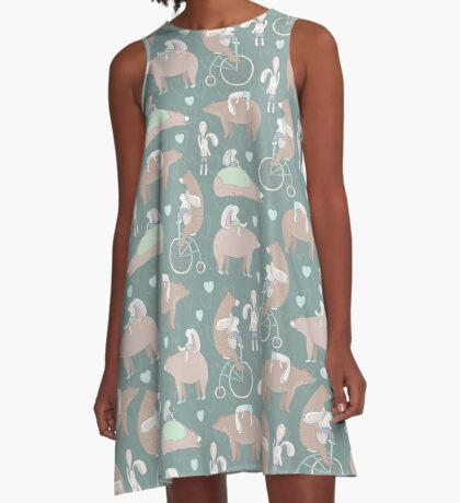 Fun Forest Creatures Pattern- Bear & Bunny Best Friends A-Line Dress