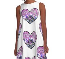 Heart illustration black A-Line Dress